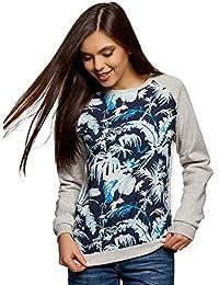 oodji Ultra Mujer Suéter Combinado con la Parte Delantera Estampada