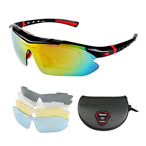 Hootracker Polarisierter Sport Sonnenbrille für Herren und Damen UV400 Unbreakable Sportbrille mit 5 Wechselobjektiv für Männer oder Frauen Radfahren Skifahren Baseball Fahren Laufen Golf