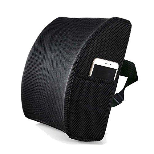 Livehitop cuscino lombare supporto schiena memory foam soft dolore relief ergonomico regolabile per sedia ufficio, auto, ortopedico, casa, sedie a rotelle, divano, 34x31x12cm (nero)