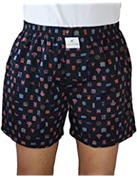 SKOR NX Men Premium Cotton Printed Black With Multi Print Boxer Shorts With 1 Back Pocket, Concealed Button Double-fly...