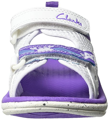 Clarks Star Games, Sandales Bout Ouvert Fille Blanc (White)