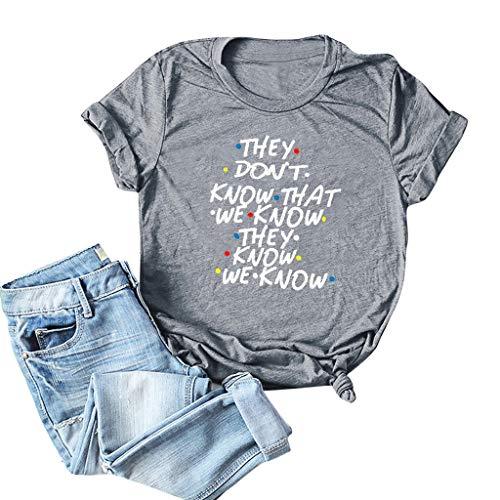Haughtily Damenmode Brief gedruckt Sommer T-Shirt Rundhals Kurzarm Plus Größe Lose Beiläufige Pullover Sweatshirt - Gedruckt Dolman Sleeve