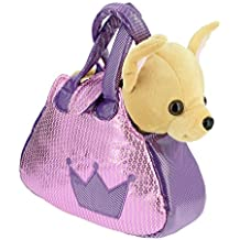 Bolso brillante rosa y lila con un perrito Chihuahua marron de peluche - 28cm Calidad Soft