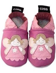 C2BB - Chaussons bébé en cuir souple fille   Petite fée
