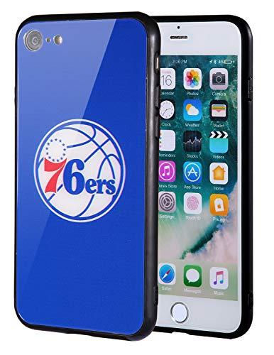 Die Masse iPhone 8Fall, iPhone 7Fall, NBA Team Logo auf gehärtetem Glas Backcover und Soft TPU Rahmen für Apple iPhone 8/7, 4.7 inch, Philadelphia 76ers - Team-logo Iphone Fall