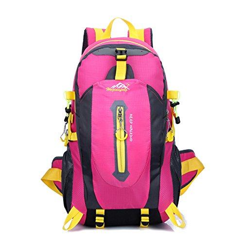 WXZB Paar Rucksack Sport Rucksack Outdoor-Zubehör Bergsteigen Tasche Freizeit wasserdicht Nylon Reisetasche, Rose rot, 40 Liter