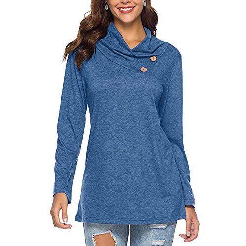 Damen Langarm Pullover Damenmode Günstige Cowl-Neck-Taste Cowl Neck Lässige Tunika Solides Sweatshirt Tops Moonuy -