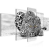 Runa Art Bilder Afrika Leopard Wandbild 200 x 100 cm Vlies - Leinwand Bild XXL Format Wandbilder Wohnzimmer Wohnung Deko Kunstdrucke Grau 5 Teilig - Made IN Germany - Fertig zum Aufhängen 000351a