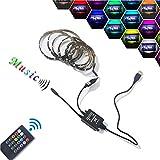 TV Led Hintergrundbeleuchtung, RGB, USB Musik LED-Stripe, Farbwechsel Effekte Lichtleiste, Dimmbar mit Fernbedienung, 1-5m Selbstklebend Lichterkette, LED Band Atmenlampen, Wasserdicht IP44, 30 LEDs/m (3m)