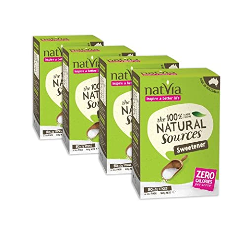 Natvia 100% Natural Sources Sweetener 80 Sticks (2g each) (Pack