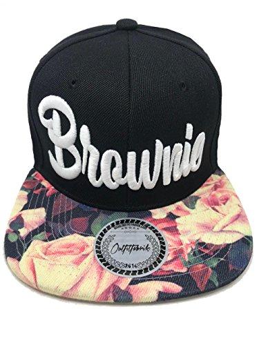 Outfitfabrik Snapback Cap Stickerei für Damen Brownie, Kappe in schwarz mit Flower-Schirm/floral Print und hochwertigem 3D-Stick in weiß, One-Size, verstellbar an der Rückseite