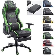 CLP Silla de oficina DRIFT XL. La silla gaming Drift XL tiene tapizado de cuero sintético y soporta un peso máximo de 150 kg. Con reposapiés y cojines para cuello y lumbares. negro/verde, con reposapiés