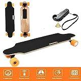 Hiriyt Elektrisches Skateboard Longboard Skateboard mit Funkfernbedienung auf Vier Rädern, Höchstgeschwindigkeit 20km/h (90 x 20.5 x 12cm_Orange)