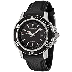 Sector Men's Watch Analogue with Date, and Black Leather Strap - R3251240125