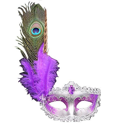 Eizur Maskerade Maske Ballmaske Venedig Prinzessin Maske Gesichtsmaske mit Pfauenfedern für Karneval Halloween Party Kostüm Cosplay Requisiten Fasching Party Verrücktes Kleid Ball - Lila