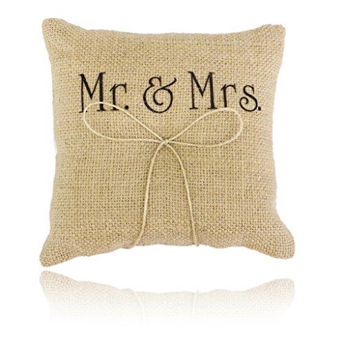 Mr & Mrs Pattern Rustic Burlap Wedding Ring Pillow 15 x 15cm