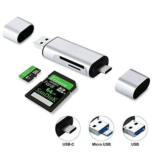 Philonext 3 in 1 lettore di schede di memoria usb c, lettore di schede micro sd / tf con connettore standard tipo c / usb-a / micro, lettore di schede per smart phone / tablet con funzione otg - argento