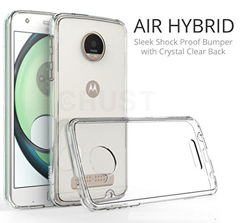 Crust™ [Air Hybrid] Premium Moto Z Play Clear Back Case Cover, [Shock Absorption Bumper] with [Anti Scratch Crystal Clear Back] for Motorola Moto Z Play [Ultra Slim Fit] – Retail Packaging