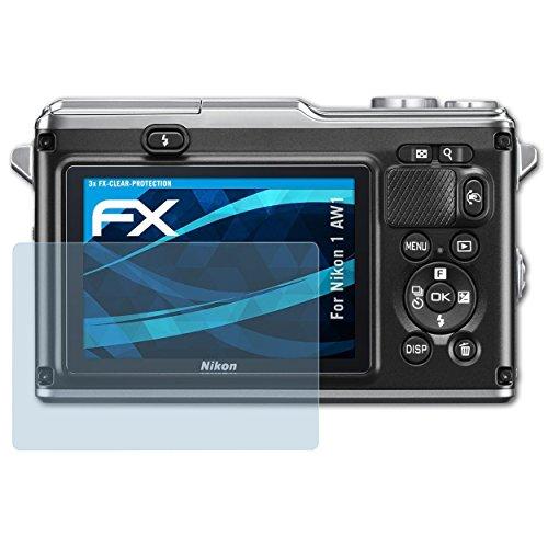 atFoliX Schutzfolie kompatibel mit Nikon 1 AW1 Folie, ultraklare FX Displayschutzfolie (3X) (Nikon Aw1-kamera)