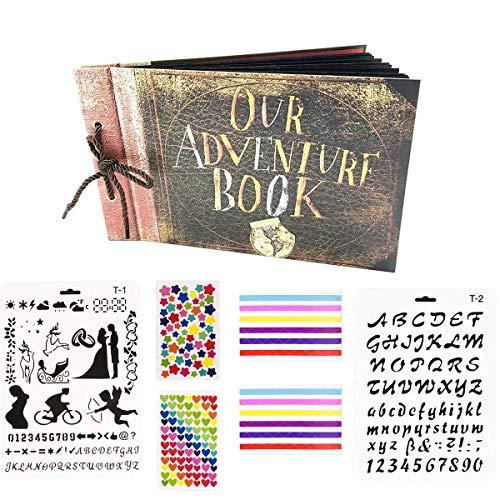 Scrapbooking Foto Album Our Adventure Book Memoria Libro degli Ospiti di Nozze con 60 Pagine Nere per San Valentino Mamma Giorno Anniversario Compleanno Natale Regalo per Figlia Moglie Madre