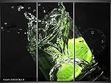 3 Tlg Leinwandbilder Wanduhr Limette in Glas Wasser Mix schwarzer Hintergrund Wandbild Leinwand Bild Restaurant Büro Hotel Wohnzimmer Universität Heim Uhr 111x80 Lwb795