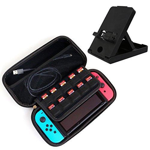 Newin star Tasche für Nintendo Switch Zubehör Schutztasche stoßfest Zubehör Case Und Nintendo Switch zusammenklappbare tragbare Halterung mit Höhenverstellung, 10 Spiele und andere zubehör, schwarz