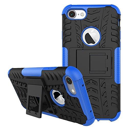 DBIT iPhone 7 / iPhone 8 Custodia, Alta qualità Durevole TPU/PC Custodia protettivo Armatura Case con cavalletto per iPhone 7 / iPhone 8,Arancione Blu