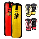Boxset für Kinder/Jugendliche, Boxhandschuhe + Boxsack - ab 6 ((3 Fuß) (rot/schwarz)