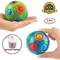 2 PCS Regenbogen Ball Magic Ball Spielzeug Puzzle Magic Rainbow Ball für Kinder Pädagogisches Spielzeug Jugendliche Erwachsene Stress Reliever Malloom Pop Luminous Stressabbau von Proacc