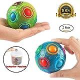 2PCS Regenbogen Ball Magic Ball Spielzeug Puzzle Magic Rainbow Ball für Kinder Pädagogisches Spielzeug Jugendliche Erwachsene Stress Reliever Malloom Pop Luminous Stressabbau Blau und Grün von Proacc