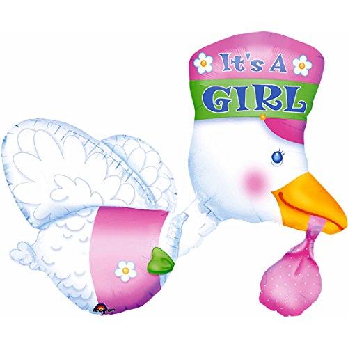 Folienballon Storch – It's a girl – Pullerparty Luftballon Babyparty Folien Ballon Geburt Folienluftballon 3D Party Balloon Luftballon Geburt