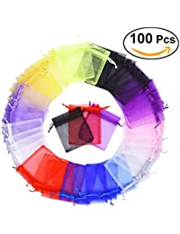 100PCS Mixed Colors Wedding Party Favor Drawstring Organza Gift Bags Jewelry Pouches 10 * 12 cm