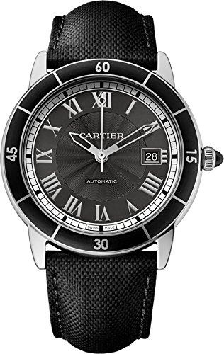 Cartier-Mens-42mm-Black-Alligator-Leather-Band-Steel-Case-Automatic-Grey-Dial-Analog-Watch-WSRN0003