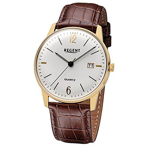 Regent Reloj de pulsera elegante Analog de piel para hombre de pulsera Marrón Cuarzo de Reloj urf987