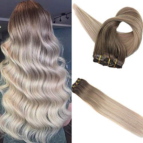 Easyouth Klipp in Haarverlängerung 18 Zoll 100g 10 Stück Pro Paket Farbe 8 Ash Brown Fading Zu 60 Blonde Fading Zu 18 Ash Blonde Haarverlängerung Mit Clips in Extensions Lockig