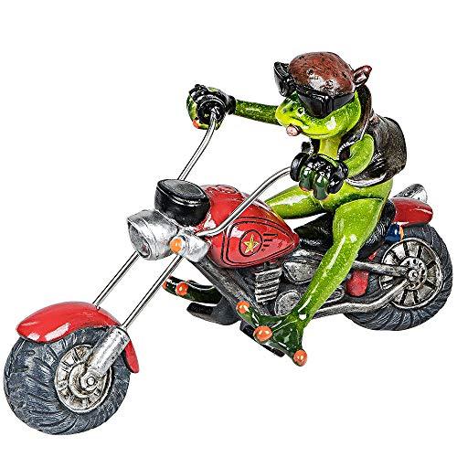 Formano Deko-Frosch 'Biker', Länge: 22 cm, aus Kunststein, Hellgrün-Grau, 1 Stück, von Hand Gefertigt und Bemalt