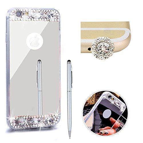 Pour Iphone 7 Bling Paillette Cristal Coque, SKYXD Slim Case Soft Gel Bumper Miroir Diamant Luxueux Housse de Protection avec Anti-Scratch, Argent Argent