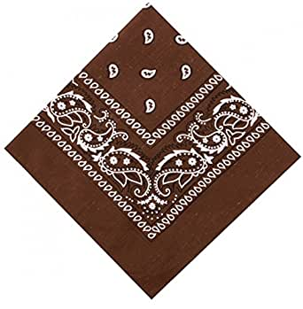 Comtechlogic® CM- 4125 Multifunction Headwear Bandanas for Head and Neck Scarf, Hair, Bag Accessories, Fancy Dress plus more - 12 Colours of Large Cotton Scarfs - Men, Women and Children (Brown)