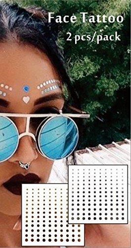 Gold-glitter Make-up (Gesicht Augen Tattoo Aufkleber Temporäre Tattoos 2er Packung f09 Gold & SILBER für Gesicht Glitter MAKE-UP Effekt für Party Festival Shows und Bühne-Auftritte)