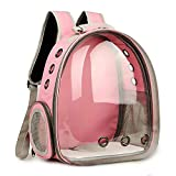 Space Capsule Pet Carrier Backpack, Transparente Cat Cápsula 180 ° Recorrido turístico Burbuja transpirable, Bubble Bags Cat Dog Puppy Pet Carrier Pet Backpack para viajes Senderismo Camping,Pink