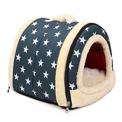 Hundehaus Haustier Zwinger Falten Tragbar Hundebett Katzenbett Zelt Abnehmbares für Hund Katze Kleines Tier Sich ausruhen Schlaf oder Reise Innenraum &Draussen (M, Blau mit sterne muster)