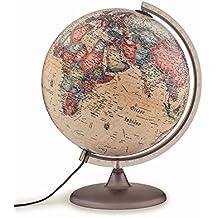 Tecnodidattica – Mappamondo Atmosphere A2, luminoso, girevole, cartografia Stile Antico e meridiano graduato, diametro 30 cm