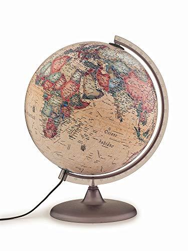 Tecnodidattica - Mappamondo Atmosphere A2, luminoso, girevole, cartografia Stile Antico e meridiano graduato, diametro 30 cm