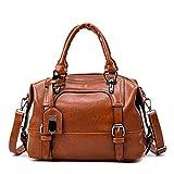Ledertaschen Frauen Handtaschen Große Kapitän Boston Damen Casual Tragetaschen Handtaschen Frauen brown 27x13x23cm