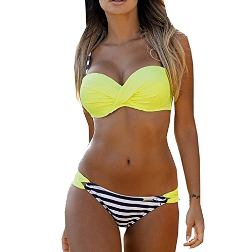 Blivener Women Push Up 2 Pieces Low Waist Bikini Spaghetti Strap Padded Swimsuits Yellow UK 14-16