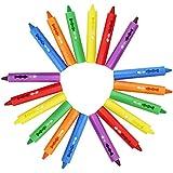 com-four® 18 Crayons de Bain de Six Couleurs différentes, lavables sans résidus