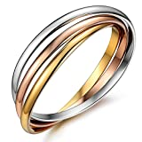 JewelryWe Schmuck Damen Edelstahl Armband, Drei Farben Trizyklischer Edelstahlarmband 3 Armbänder Verriegleung Armreif, Rose Gold Silber 20cm, mit Geschenk Tüte