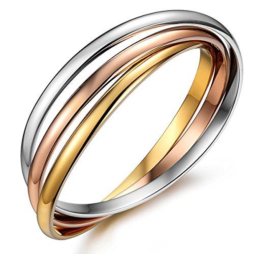 JewelryWe Gioielli bracciale da uomo donna Ipoallergenico Tri-Colori acciaio inox Interblocco braccialetto lunga 7.87