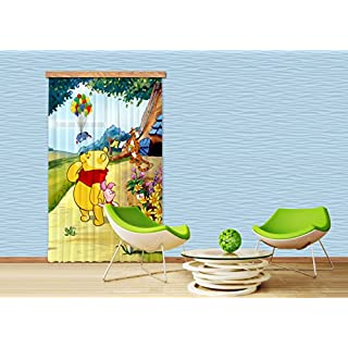 AG DESIGN Disney Winnie The Pooh, Children's Room Curtain, 140x245 cm, 1 Part, FCPL 6111, Polyester, Multi-Colour, 140 x 245 cm