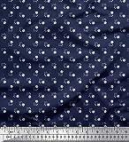 Soimoi Blau Viskose Chiffon Stoff Dot & Floral Hemdenstoff